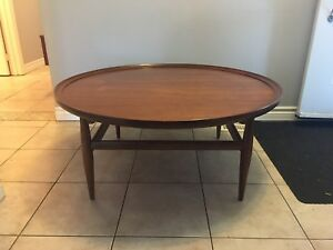 Mid century modern Walnut Round Coffee Table
