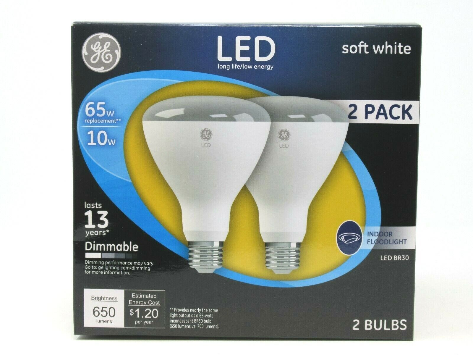 GE Soft White LED Floodlight Bulbs 65W Uses 10W Dimmable Ind