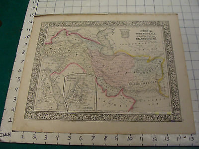 ORIGINAL Hand Colored 1860 Mitchell Map: 15 1/4 x 12 1/2 PERSIA TURKEY AFGHANIST