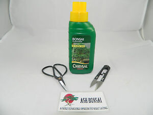 Bonsai liquid feed, food, fertiliser 250ml Chrysal + Scissors,+ Shears Set ,Elms
