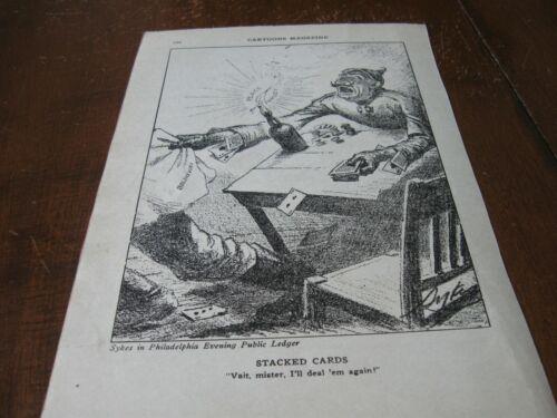 1918 Original POLITICAL CARTOON - WWI Card Playing GERMAN w BOLSHEVIK Play Cards