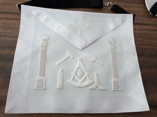 All White Past Master Hand Embroider Apron With Working Tools, Past Master Apron