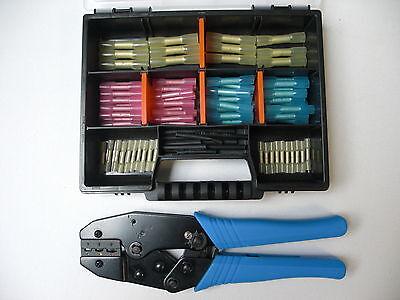 Schrumpfverbinder Stoßverbinder Quetschverbinder 82-tlg. + Crimpzange + Box neu