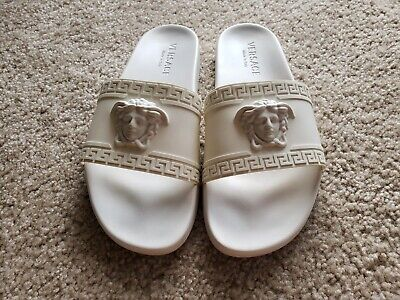 $495 Authentic Versace Palazzo Medusa White Pool Slide Sandals size 10