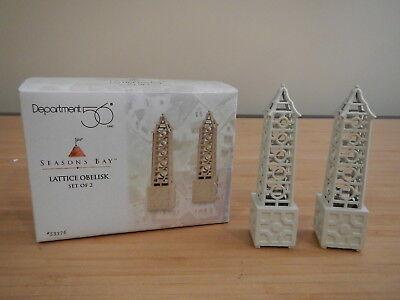 Dept 56 Seasons Bay - Lattice Obelisk - Set of 2