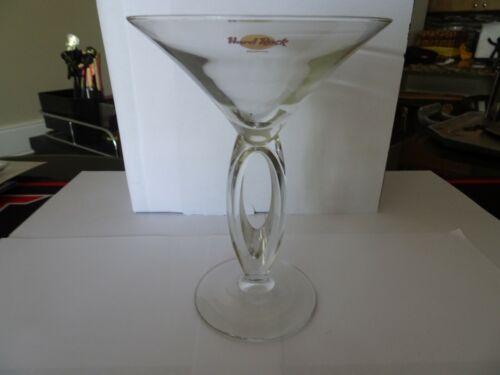 Hard Rock Cafe Gatlinburg Martini Glass double stem Classic Logo yellow