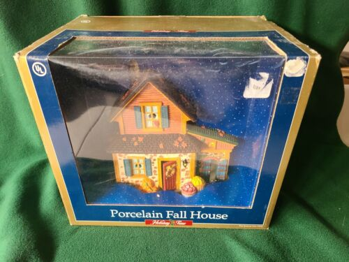 Holiday Time Lighted Village Porcelain Fall House Brand New in Box