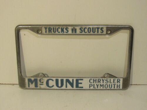 Trucks Scouts McCune Chrysler Plymouth License Plate Frame Embossed Holder Rare