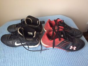Baseball Cleats, Nike Size 9.5, Under Armour Size 11