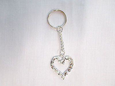 NEW NUGGET HEART SILHOUETTE SILVER PLATED PEWTER METAL KEY RING / KEY CHAIN