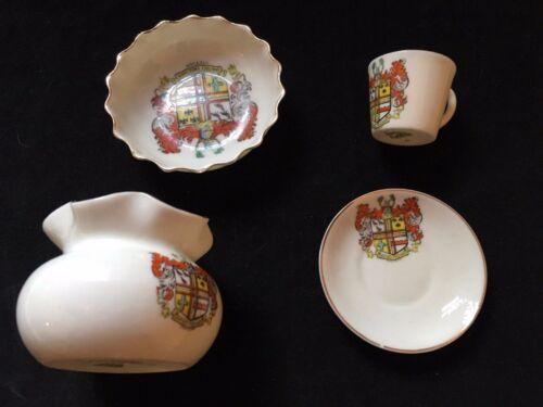 """Crest porcelain 4 Piece Lot W. H. Goss eggshell Souvenir """"SANITATE CRESCAMUS"""" EC"""