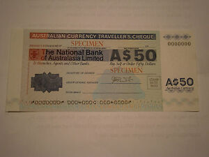 Travellers Cheque - $50,-- National Bank of Australasia Ltd---Circa 1975