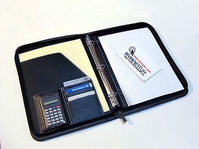 Premium Leather Padfolio Portfolio 3 Rings Letter Paper Pockets Calculator