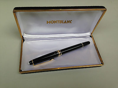 VINTAGE MONTBLANC PIX BLACK FOUNTAIN PEN GOLD 14K 585 NIB + ORIGINAL CASE