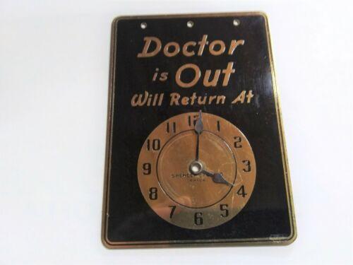 Vintage Art Deco Spencer Studios Philadelphia Enameled Brass Doctors Is Out Sign