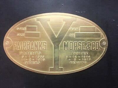 New Fairbanks Morse Y Engine Brass Data Tag Antique Hit And Miss Engine