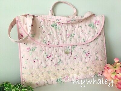 PORTFOLIO BAG Laptop Case PiNK ROSes made w/Simply Shabby Chic fabr MOP Btn NEW Laptop Portfolio Case