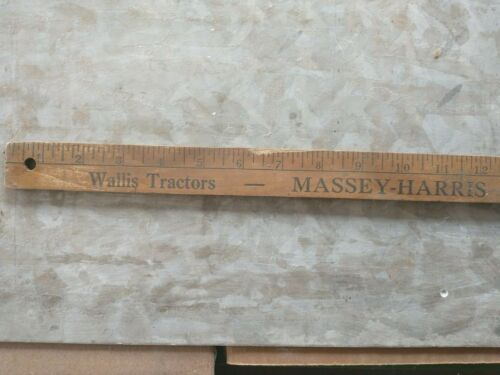 VINTAGE WALLIS TRACTORS, MASSEY HARRIS TRACTORS ADVERTISING YARD STICK