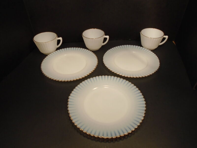 MacBeth Evans ~  3 LUNCHEON PLATES and 3 CUPS  ~  Petalware Monax w/ Gold Trim