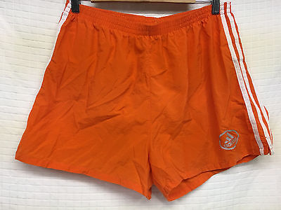 098cb345daeac Vintage ADIDAS Orange running shorts Large lined 3 stripe lightweight