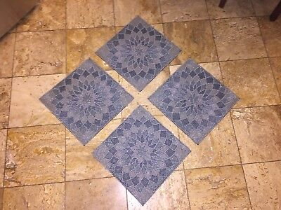 NWT KIM SEYBERT Neiman Marcus Silver BEADED Square PLACEMATS Chargers Set 4