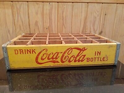 Vintage COCA COLA Yellow w/ Red Lettering 24 Slot Wood Crate