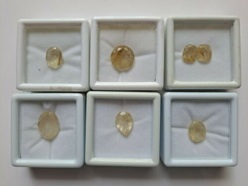 Estate Find Faceted Loose Rutilated Quartz Gemstones Brazil