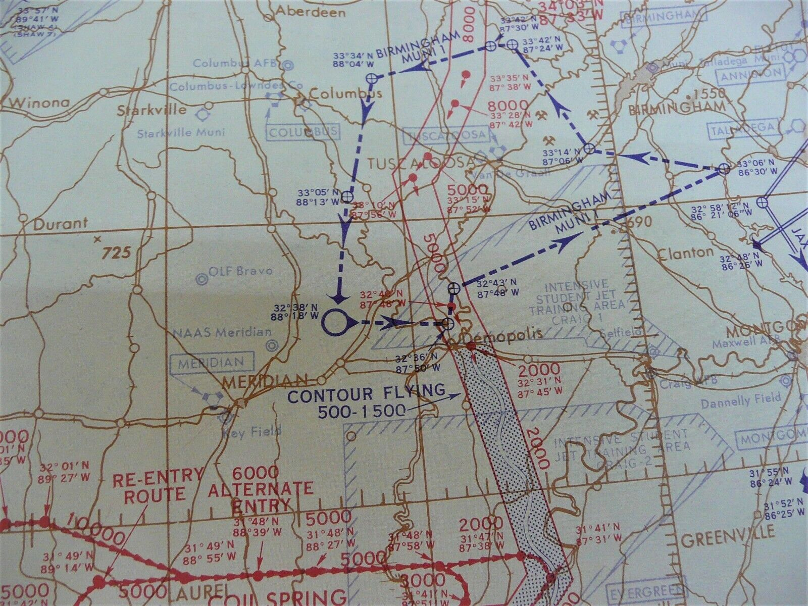 US Air Force/Navy Low Altitude High Speed 1963 Training Aeronautical Route Chart