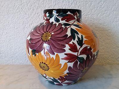 SMF Schramberg Vase Keramikvase Blumenmotiv Majolika Art Nouveau handgemalt 2822