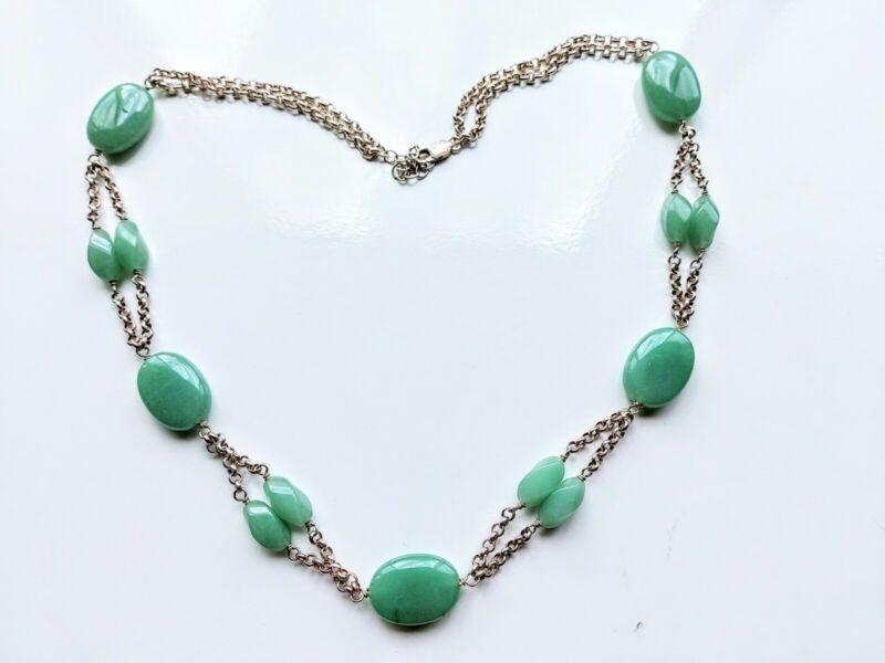 """Vintage Sterling Silver Carved Jadeite Jade Necklace, 65 grams, 25.5"""""""