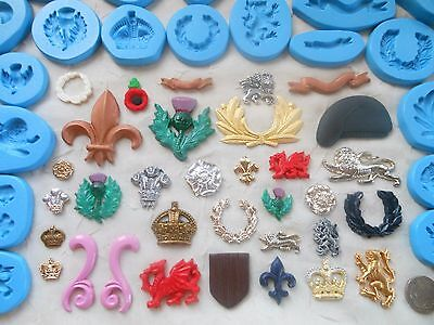 Sugarcraft/Fimo MOULD: SHIELD/PLAQUE EMBELLISHMENTS (Army Military Navy Soldier)