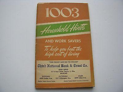 Vtg 1951 Dayton Ohio National Trust Co Bank 1003 HOUSEHOLD HINTS Book Promotion