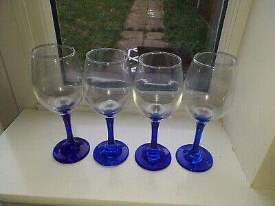 Lovely Vintage Set Of 4 Large Cobalt Blue Stemmed Wine Glasses