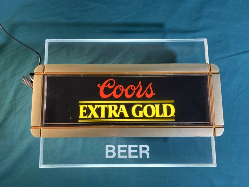 Vintage 1980's Coors Extra Gold Beer Lighted Bar Sign Edge Lit Acrylic Light