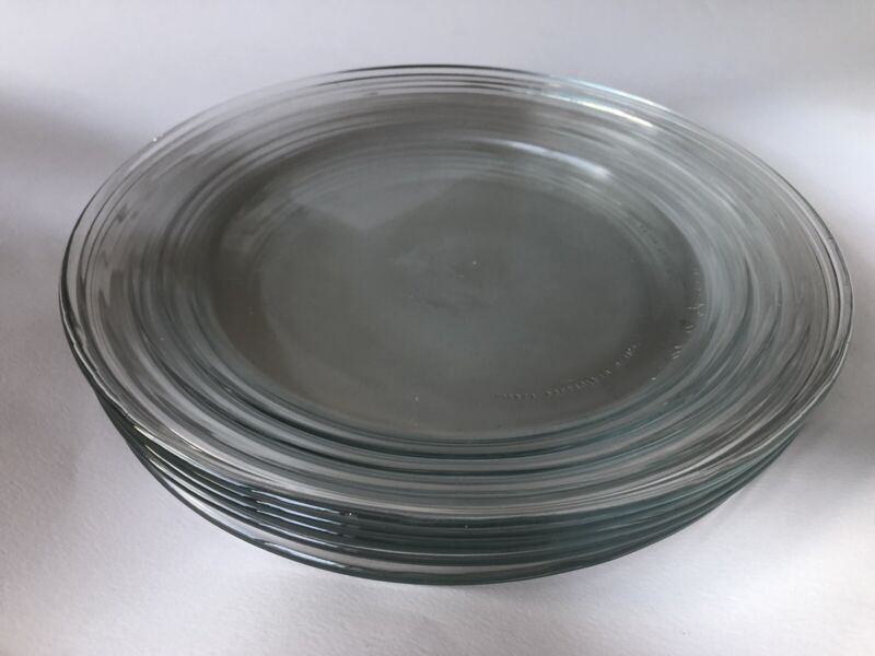 6 Libbey Hoops Duratuff 10 3/4 Clear Dinner Plates made in Mexico