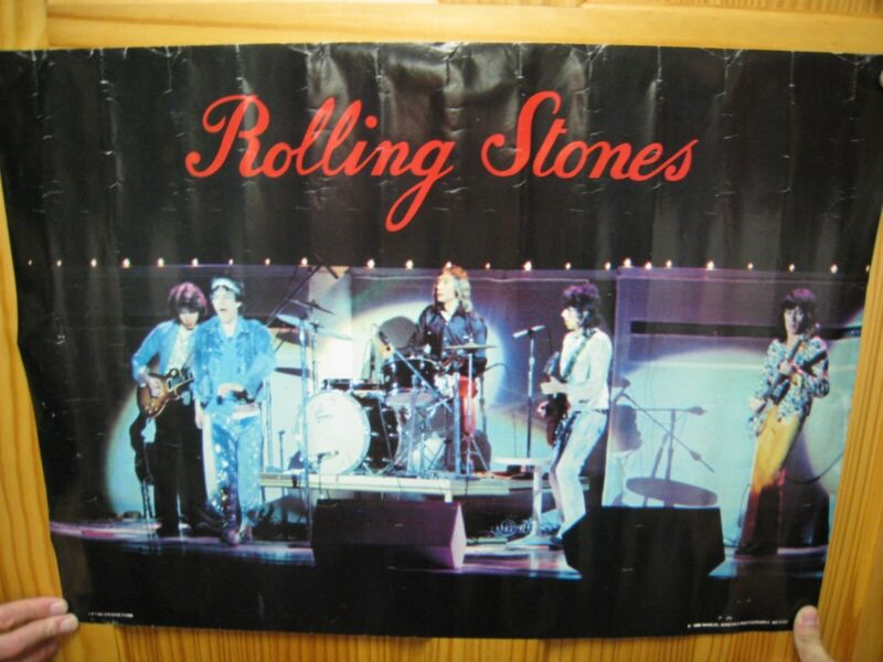 Rolling Stones Poster Band Shot On Stage Vintage The