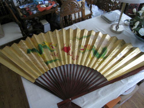 """Large 62"""" x 39"""" Asian Folding Gold Wall Fan Hand Painted Dragons Dualing Signed"""