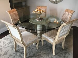 Dinning room table, solid wood, glass top, 6 chairs.