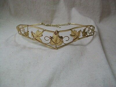 Gold Leaf Circlet Medieval Crown Headpiece Renaissance Maiden Princess Goddess