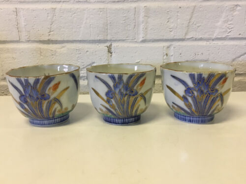 Antique Japanese Signed Set of 3 Arita Porcelain Cups w/ Floral Decoration