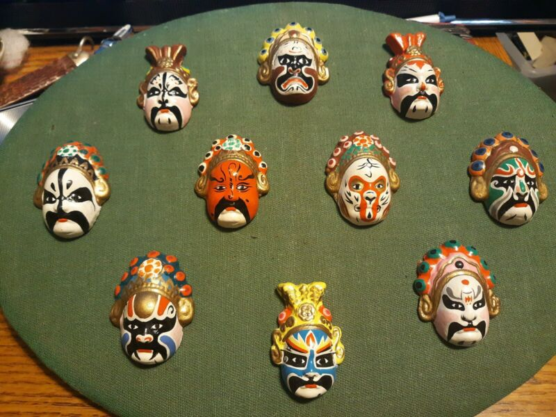 Vintage Minature Chinese Opera Masks? - LOT of 10