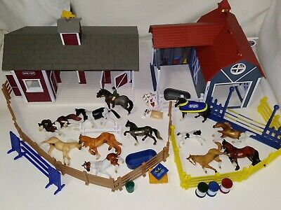 """Breyer Stablemates 3"""" Lot w/ Red Barn, Riding Camp, English Rider, 12 Horses"""