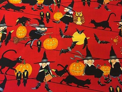 2006 Life's With Witch Alexander Henry Halloween Black Cats Crows RED Fabric BHY - Henri Black Cat Halloween
