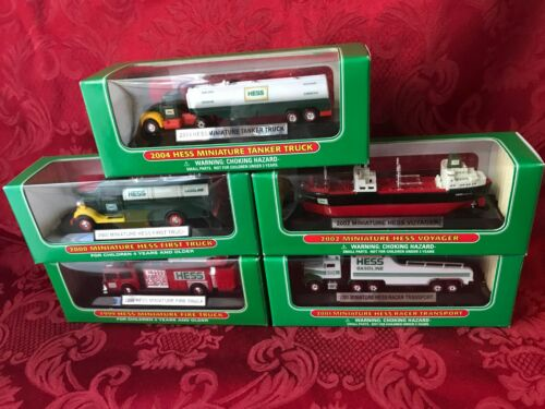 SET OF (5) HESS MINI TRUCKS 1999, 00, 01, 02, & 04 DIRECT FROM THE FACTORY CASE