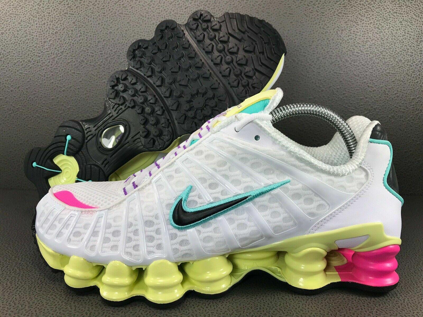 Détails sur Nike Shox TL Chaussures Course Blanc Rose Pastel Jaune (AR3566 102) Sz 6.5 US