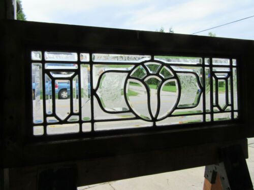 ~ ANTIQUE STAINED GLASS TRANSOM WINDOW FULL BEVELED ~ 32 X 14 ~ SALVAGE