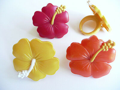 24 Hibiscus Cupcake Rings Luau Party Cake Toppers Decorations - Luau Cake