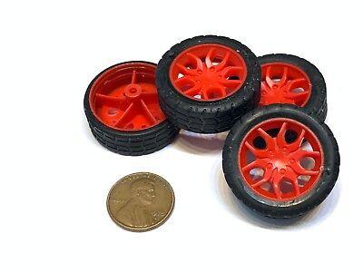 4 Pieces Red 30mm Diameter 2mm Shaft Car Robot Tire Wheel Dc 4pcs A3