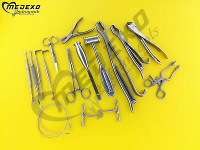 Veterinary Orthopedic Set Contains 19 Instruments A Cleaning Storage Cassette