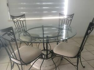 Stone, glass and iron round table Brinsmead Cairns City Preview